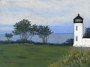 San Juan Pastels - Fort Casey Lighthouse by Ginny Neece