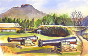 Watercolour Mixed Media Originals - Fort Davidson Cannon II by Kip DeVore