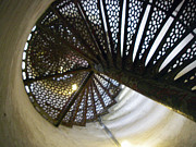 Staircase  Mixed Media Prints - Fort Gratiot Lighthouse staircase Print by Cynthia Hilliard