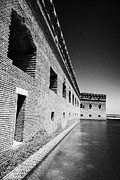 Fort Jefferson Metal Prints - Fort Jefferson Brick Walls With Moat Dry Tortugas National Park Florida Keys Usa Metal Print by Joe Fox