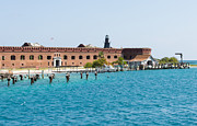 Dry Tortugas Framed Prints - Fort Jefferson Dock Framed Print by John Bailey