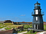 Dry Tortugas Framed Prints - Fort Jefferson Lighthouse Framed Print by David Davies