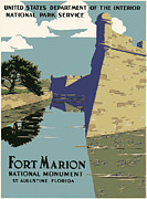 Historic Fortress Digital Art Prints - Fort Marion National Monument Print by Nomad Art And  Design
