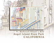 Sausalito Prints - Fort McDowell Officers Row on Angel Island State Park California HK Print by David Rigg