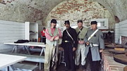 Colonial Actors Prints - Fort Moran Mess Hall Print by Cindy Croal