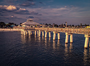 Sunset Light Posters - Fort Myers Beach Fishing Pier Poster by Edward Fielding