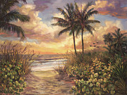 Beach Sunset Paintings - Fort Myers Sunset by Laurie Hein