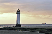 River Dee Framed Prints - Fort Perch Lighthouse and ship Framed Print by Karen Lawrence