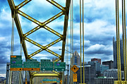 Pittsburgh Framed Prints - Fort Pitt Bridge and Downtown Pittsburgh Framed Print by Thomas R Fletcher