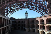 Frisco Pier Photos - Fort Point Light House and The Golden Gate Bridge 5D21560 by Wingsdomain Art and Photography