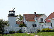 Keepers House Photos - Fort Point Lighthouse by Christiane Schulze