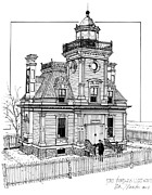 Featured Drawings Posters - Fort Tompkins Lighthouse Poster by Ira Shander