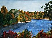 Alabama Drawings Prints - Fort Toulouse Coosa River In Fall Print by Beth Parrish