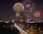 Fort Worth Skyline At Night Fireworks Color Evening Ft. Worth Texas Print by Jon Holiday