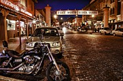 Motorcycle Cowboy Art - Fort Worth Stockyards by John Hesley