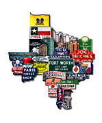 Photomontage Digital Art - Fort Worth Texas Shaped Photomontage Print by Carl Crum