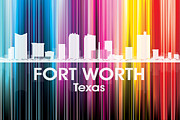 Iconic Design Mixed Media Prints - Fort Worth TX 2 Print by Angelina Vick