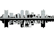 Urban Buildings Mixed Media Posters - Fort Worth TX 4 Poster by Angelina Vick