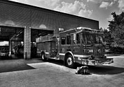 Fire Trucks Framed Prints - Fort Wright Fire Station bw Framed Print by Mel Steinhauer