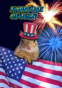 Wildlife Celebration Digital Art - Forth of July Squirrel by Jeanette K