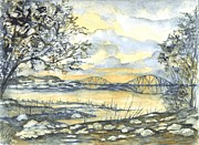 Sienna Drawings Prints - Forth Rail Bridge Edinburgh Scotland Print by Carol Wisniewski