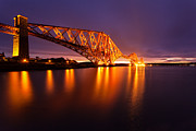 East Coast Acrylic Prints - Forth Rail bridge Pre Dawn Acrylic Print by John Farnan