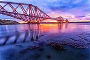 East Coast Acrylic Prints - Forth Rail bridge stunning sunrise Acrylic Print by John Farnan