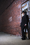 Brick Wall Prints - Forties style film noir gangster Print by Diane Diederich