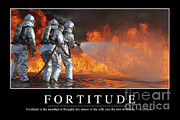 Protective Fire Framed Prints - Fortitude Inspirational Quote Framed Print by Stocktrek Images
