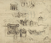 Italy Drawings Posters - Fortress from Atlantic Codex  Poster by Leonardo Da Vinci