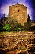 Roman Ruins Digital Art Posters - Fortress Tower Poster by Mary Machare