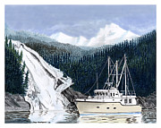 Trawler Painting Posters - Forty Foot Nordhavn Northern Anchorage Poster by Jack Pumphrey