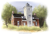 Great Lakes Digital Art Prints - Forty Mile Point Lighthouse  Print by Greg Eilers