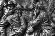Aotp Posters - Forward Men - On My Lead.  State of Delaware Monument Detail-I Gettysburg Autumn Mid-Day. Poster by Michael Mazaika