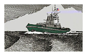 Pen And Ink Drawing Art - Foss Tractor Tugboat by Jack Pumphrey