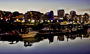 Ron Roberts Photography Greeting Cards Framed Prints - Foss Waterway at night Framed Print by Ron Roberts