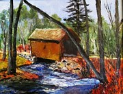 Covered Bridge Painting Metal Prints - Foster Covered Bridge  Metal Print by Art  Stenberg