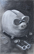 Pig Pastels Framed Prints - Found em Framed Print by Robert Stokes