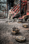 Industrial Metal Prints - Foundry Worker Metal Print by Adrian Evans