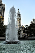 Hall Digital Art Prints - Fountain and Philadelphia City Hall Print by Bill Cannon