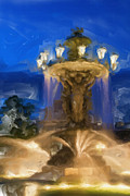 Water Color Digital Art Posters - Fountain at Dusk Poster by Ayse T Werner