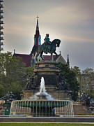 Philadelphia Mixed Media Metal Prints - Fountain At Eakins Oval Metal Print by Trish Tritz