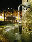 Fountain At Night Print by Giuseppe Epifani