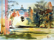 Autumn Trees Painting Posters - Fountain at the Baptist Home Poster by Kip DeVore