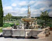 Sonoma Painting Prints - Fountain at the Vineyards Edge Print by Gail Chandler