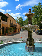 Cobblestone Prints - Fountain at Tlaquepaque Arts and Crafts Village Sedona Arizona Print by Amy Cicconi