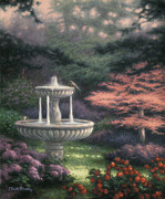 Garden Painting Originals - Fountain by Chuck Pinson