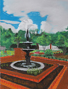 Botanical Pastels Originals - Fountain in GA Official Botanical Garden at Athens by Dana Schmidt