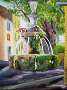 Provence Village Framed Prints - Fountain in provence Framed Print by Christian Simonian