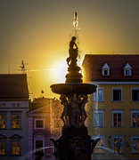 Budejovice Posters - Fountain In Sunset Poster by Filip Masopust